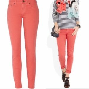 J. Crew Ankle Toothpick Jeans In Persimmon